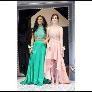 Hunter Green Prom Dress- Two Piece